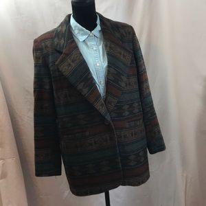 Vintage Unisex Aztec Print Wool Blazer